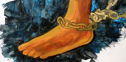 soul-freedom-chained-acrylic-painting-depicting-chained-foot-fetters-impressionist-style-by-ishrath-humairah-khalil-gibran-poem-inspired1